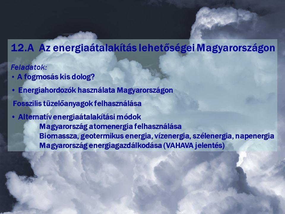 12.A Az energiaátalakítás lehetőségei Magyarországon