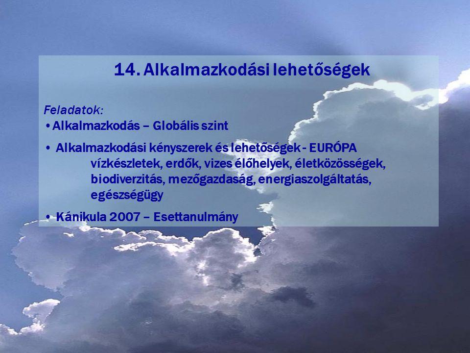 14. Alkalmazkodási lehetőségek
