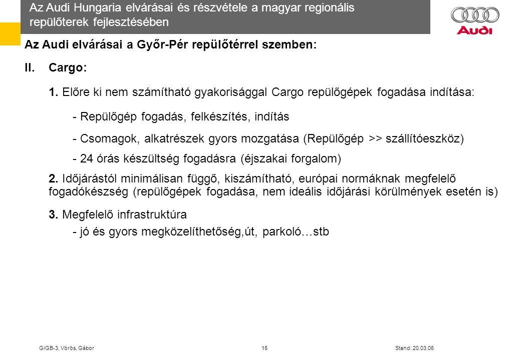 Az Audi elvárásai a Győr-Pér repülőtérrel szemben: II. Cargo: