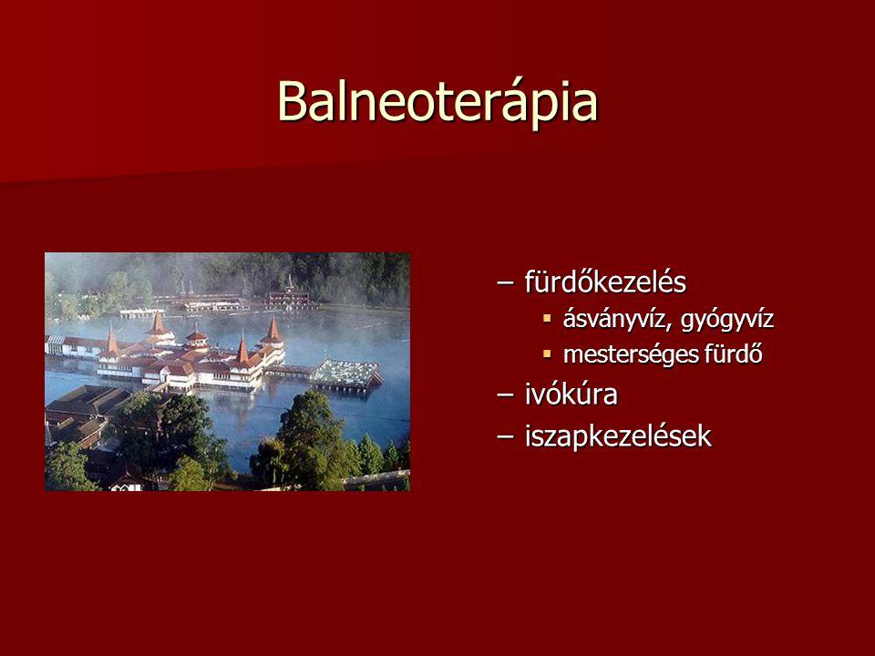 Balneoterápia fürdőkezelés ivókúra iszapkezelések ásványvíz, gyógyvíz