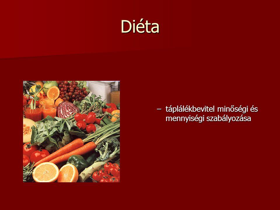 Diéta táplálékbevitel minőségi és mennyiségi szabályozása