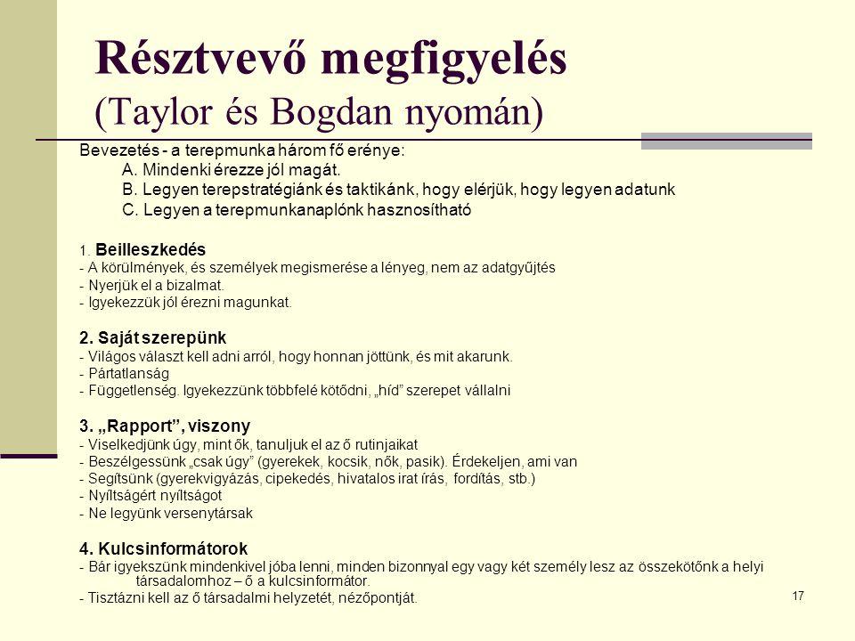Résztvevő megfigyelés (Taylor és Bogdan nyomán)