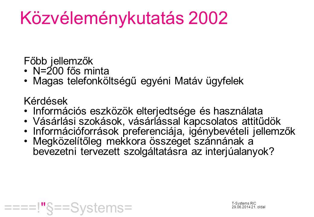 Közvéleménykutatás 2002 Főbb jellemzők N=200 fős minta