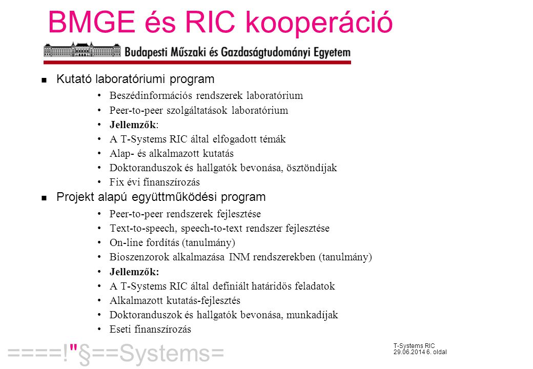 BMGE és RIC kooperáció Kutató laboratóriumi program