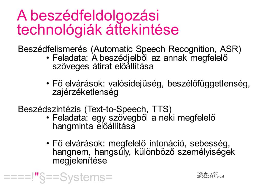 A beszédfeldolgozási technológiák áttekintése