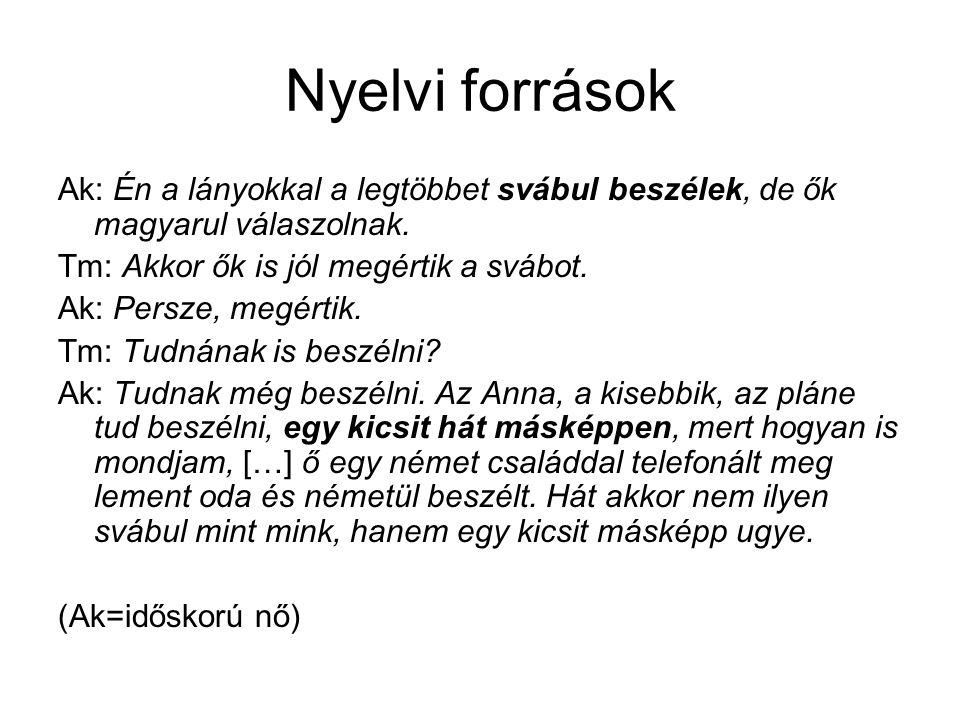 Nyelvi források Ak: Én a lányokkal a legtöbbet svábul beszélek, de ők magyarul válaszolnak. Tm: Akkor ők is jól megértik a svábot.