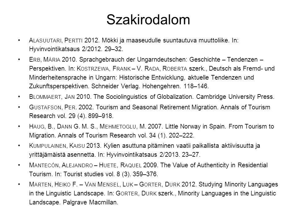 Szakirodalom Alasuutari, Pertti 2012. Mökki ja maaseudulle suuntautuva muuttoliike. In: Hyvinvointikatsaus 2/2012. 29–32.