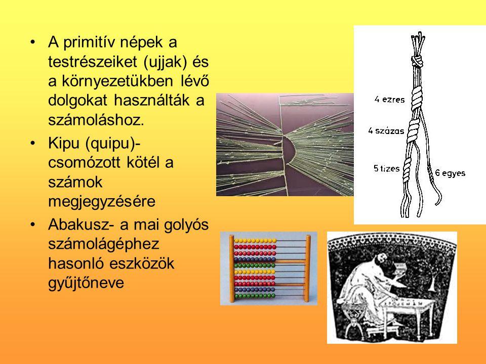 A primitív népek a testrészeiket (ujjak) és a környezetükben lévő dolgokat használták a számoláshoz.