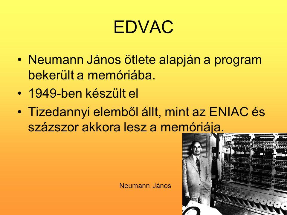 EDVAC Neumann János ötlete alapján a program bekerült a memóriába.