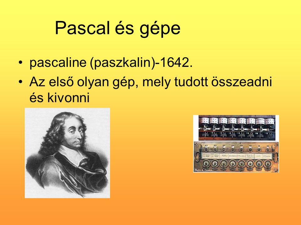 Pascal és gépe pascaline (paszkalin)-1642.