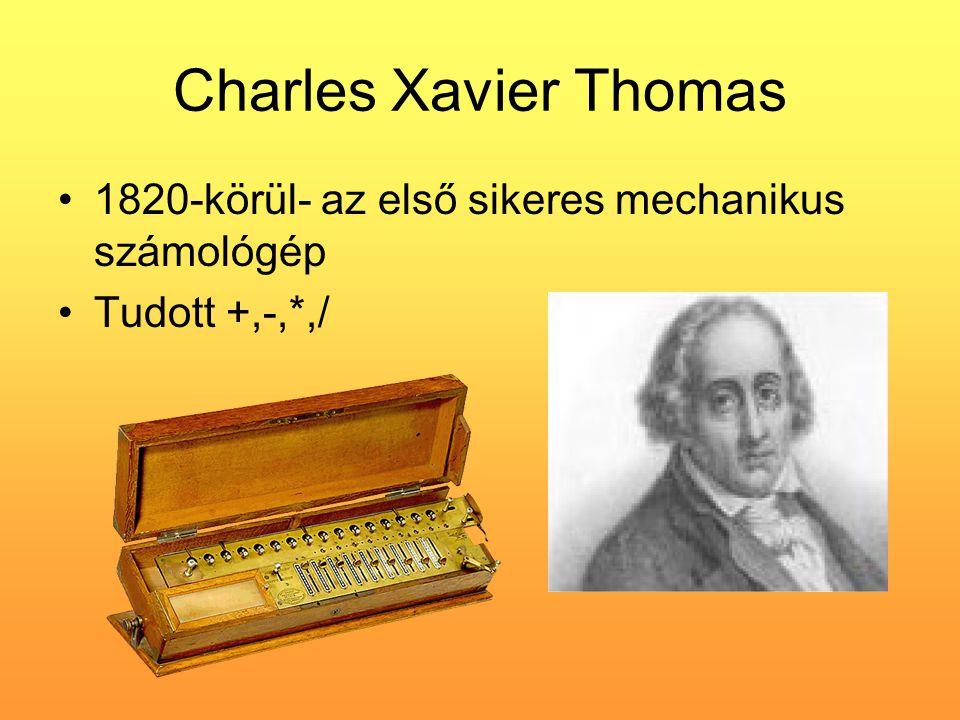 Charles Xavier Thomas 1820-körül- az első sikeres mechanikus számológép Tudott +,-,*,/
