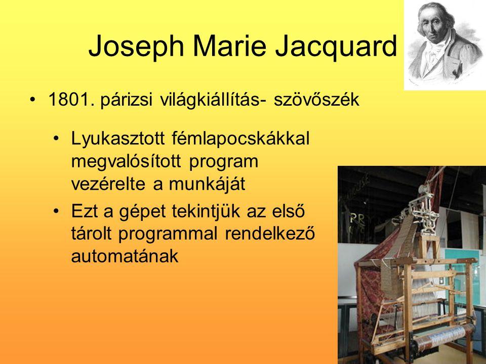 Joseph Marie Jacquard 1801. párizsi világkiállítás- szövőszék