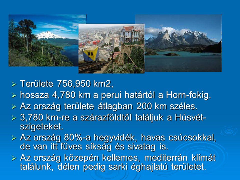 Területe 756,950 km2, hossza 4,780 km a perui határtól a Horn-fokig. Az ország területe átlagban 200 km széles.