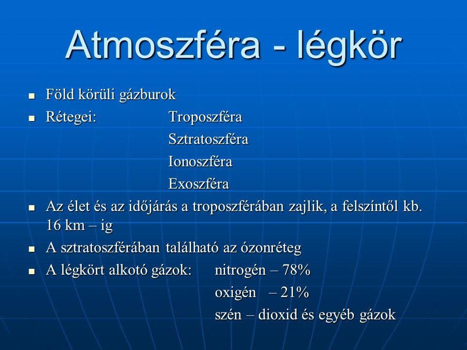 Atmoszféra - légkör Föld körüli gázburok Rétegei: Troposzféra