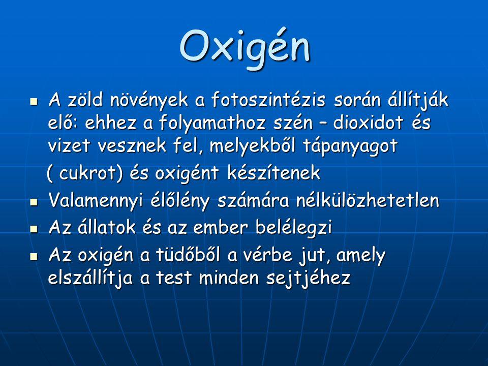 Oxigén A zöld növények a fotoszintézis során állítják elő: ehhez a folyamathoz szén – dioxidot és vizet vesznek fel, melyekből tápanyagot.