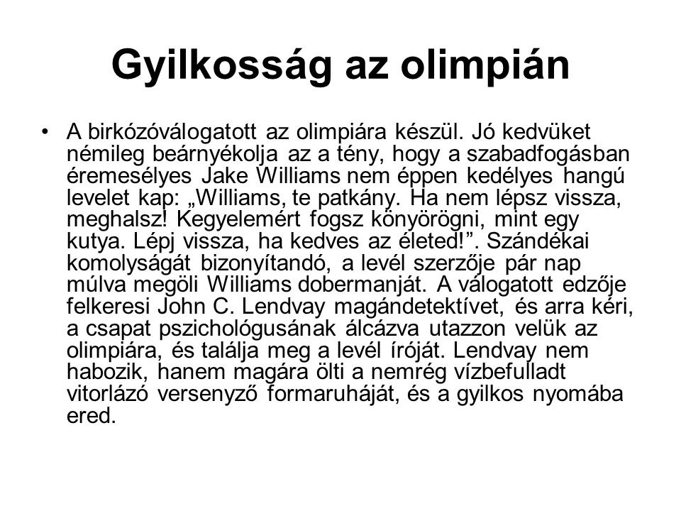 Gyilkosság az olimpián