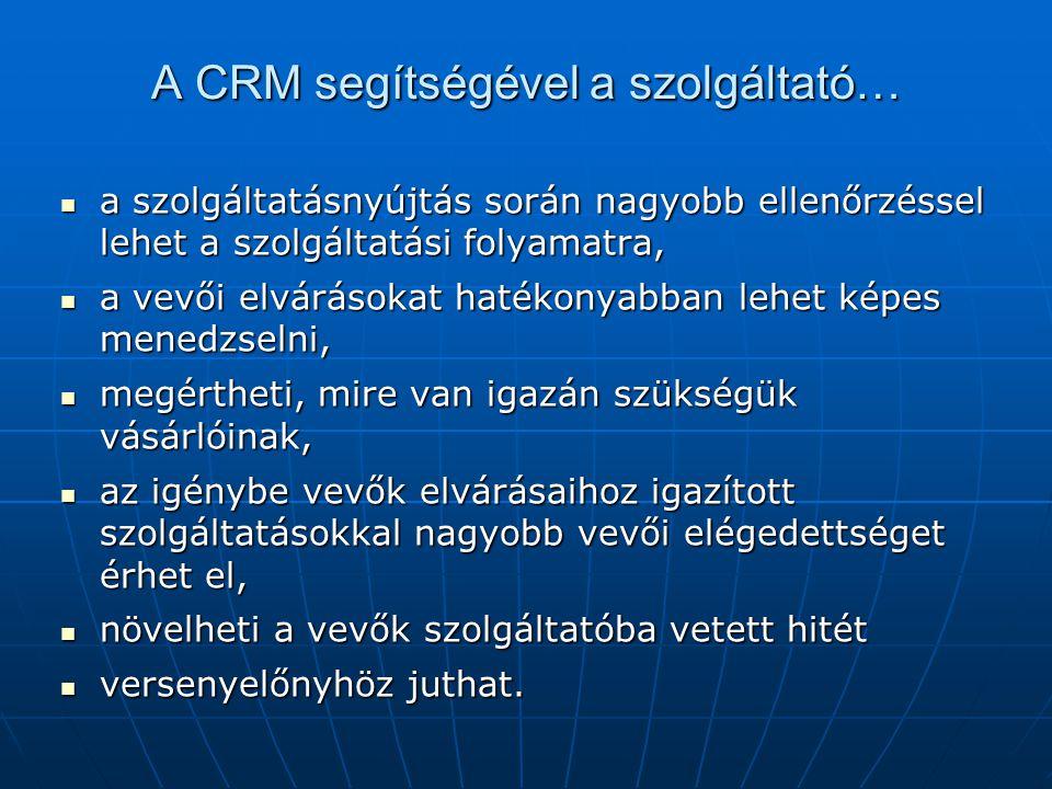 A CRM segítségével a szolgáltató…