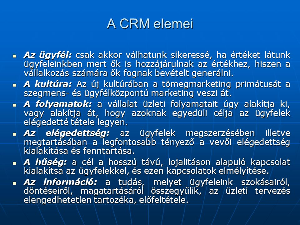 A CRM elemei