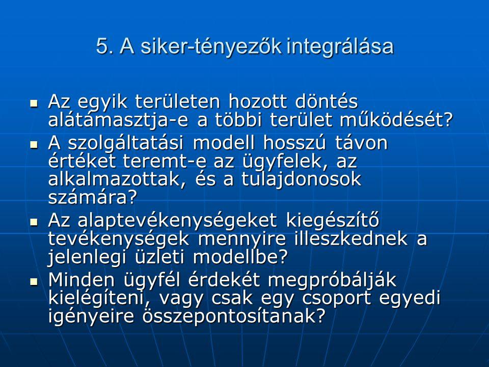 5. A siker-tényezők integrálása