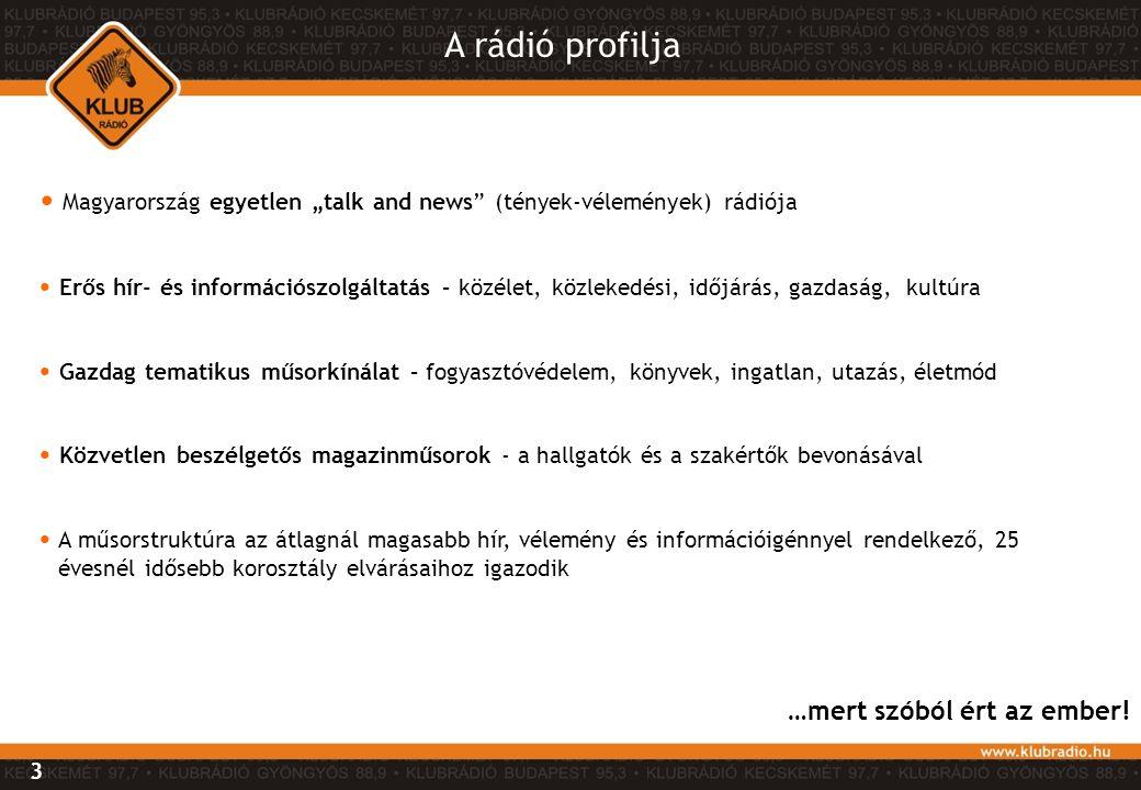 """A rádió profilja Magyarország egyetlen """"talk and news (tények-vélemények) rádiója."""