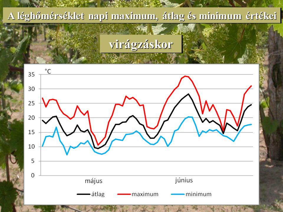 A léghőmérséklet napi maximum, átlag és minimum értékei
