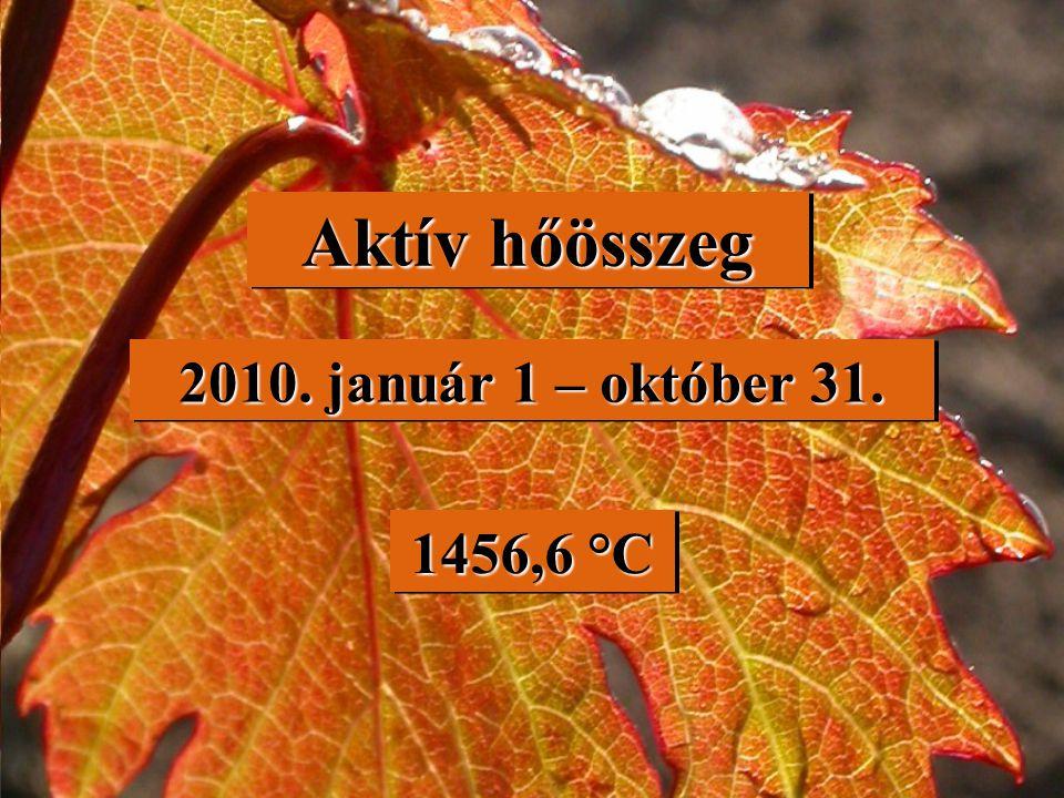 Aktív hőösszeg 2010. január 1 – október 31. 1456,6 °C