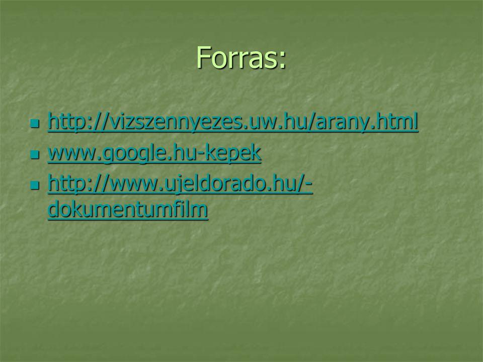 Forras: http://vizszennyezes.uw.hu/arany.html www.google.hu-kepek