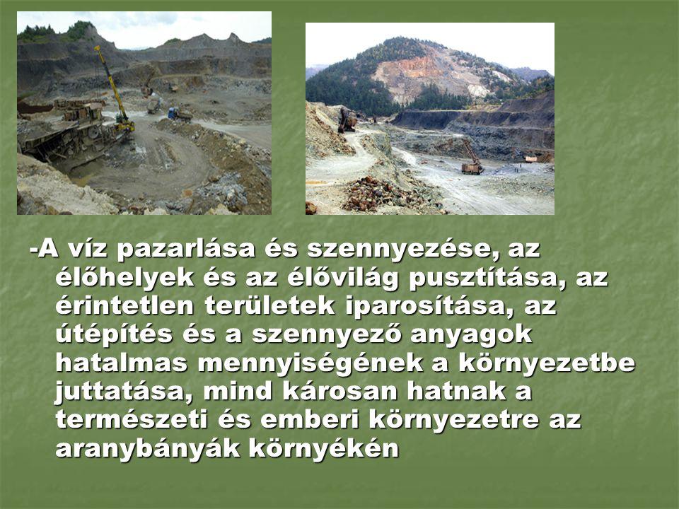 -A víz pazarlása és szennyezése, az élőhelyek és az élővilág pusztítása, az érintetlen területek iparosítása, az útépítés és a szennyező anyagok hatalmas mennyiségének a környezetbe juttatása, mind károsan hatnak a természeti és emberi környezetre az aranybányák környékén