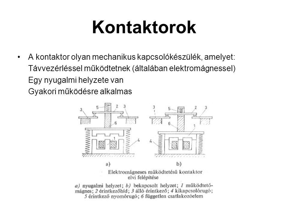 Kontaktorok A kontaktor olyan mechanikus kapcsolókészülék, amelyet: