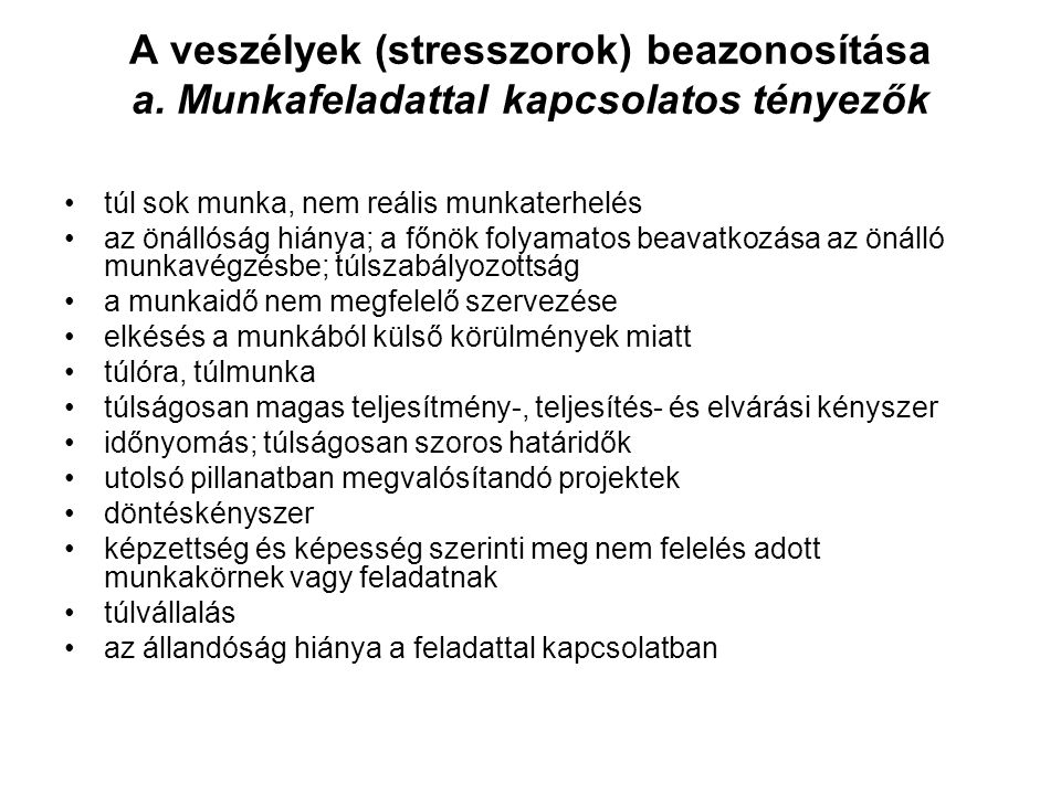 A veszélyek (stresszorok) beazonosítása a