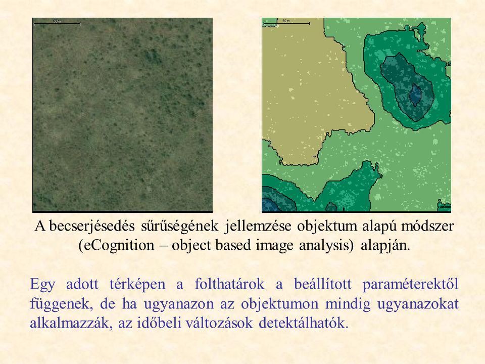A becserjésedés sűrűségének jellemzése objektum alapú módszer (eCognition – object based image analysis) alapján.
