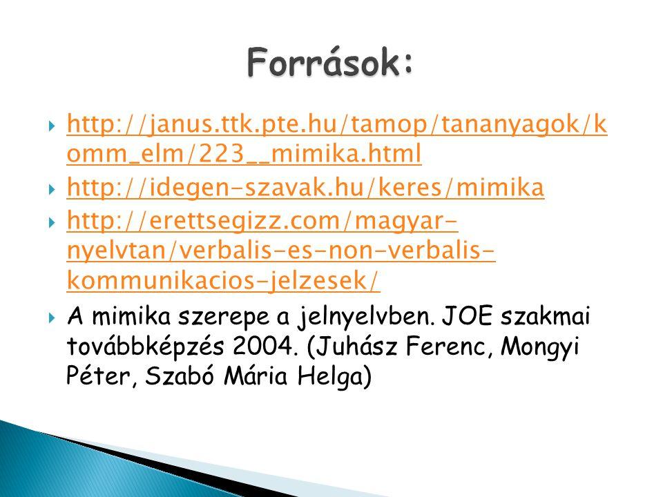 Források: http://janus.ttk.pte.hu/tamop/tananyagok/k omm_elm/223__mimika.html. http://idegen-szavak.hu/keres/mimika.