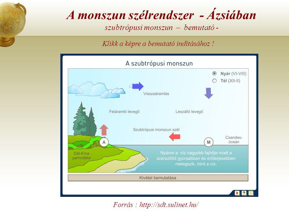 A monszun szélrendszer - Ázsiában szubtrópusi monszun – bemutató -