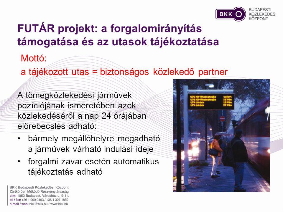 FUTÁR projekt: a forgalomirányítás támogatása és az utasok tájékoztatása