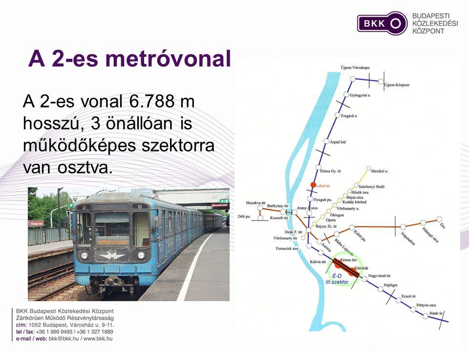 A 2-es metróvonal A 2-es vonal 6.788 m hosszú, 3 önállóan is működőképes szektorra van osztva.
