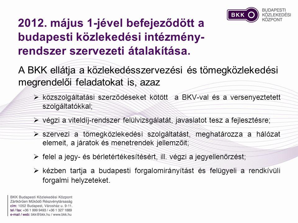 2012. május 1-jével befejeződött a budapesti közlekedési intézmény-rendszer szervezeti átalakítása.