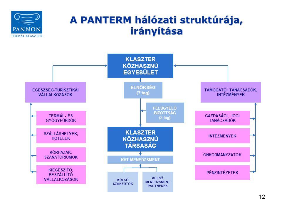 A PANTERM hálózati struktúrája, irányítása