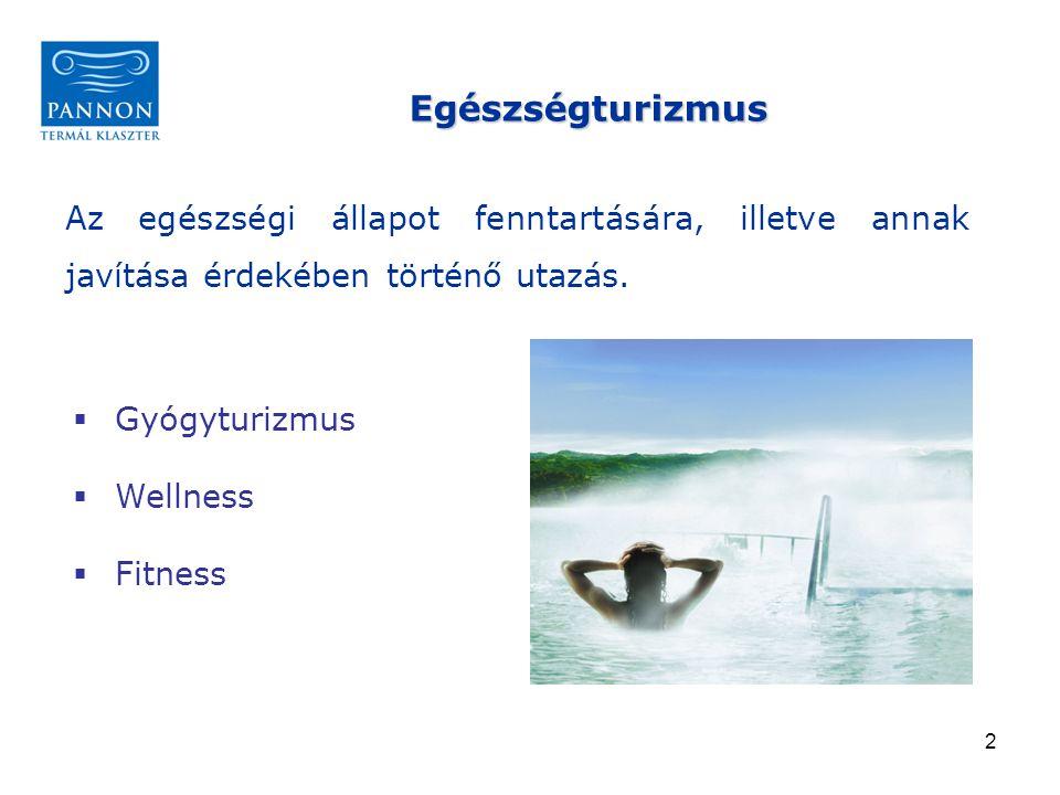 Egészségturizmus Az egészségi állapot fenntartására, illetve annak javítása érdekében történő utazás.