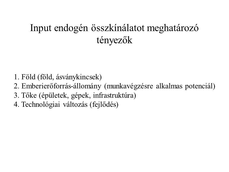 Input endogén összkínálatot meghatározó tényezők