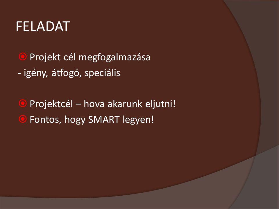 FELADAT Projekt cél megfogalmazása - igény, átfogó, speciális
