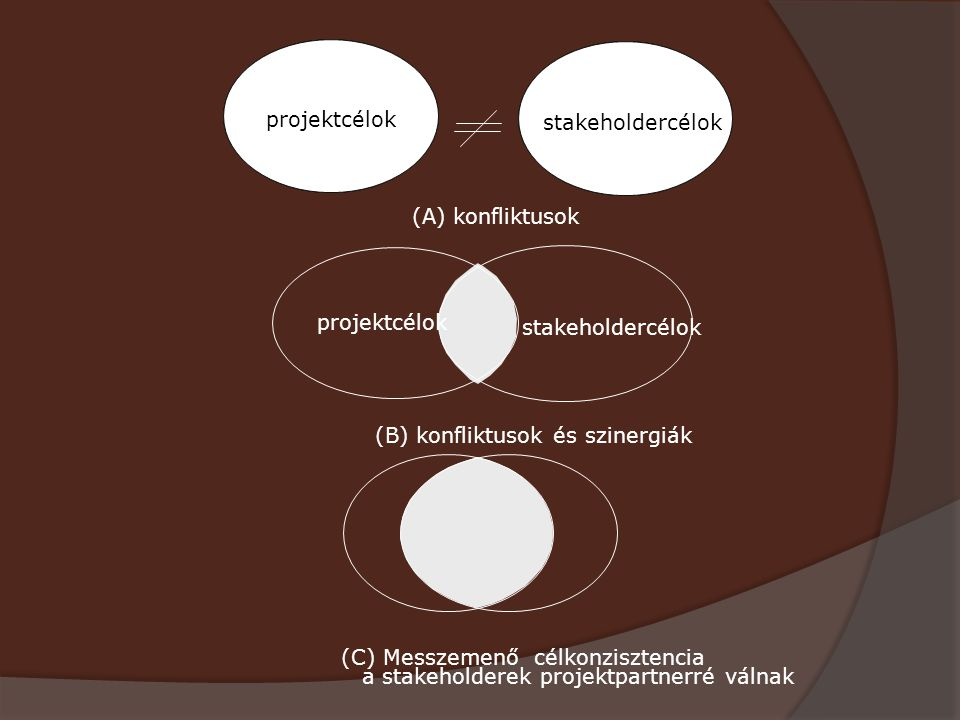 projektcélok stakeholdercélok. (A) konfliktusok. projektcélok. stakeholdercélok. (B) konfliktusok és szinergiák.