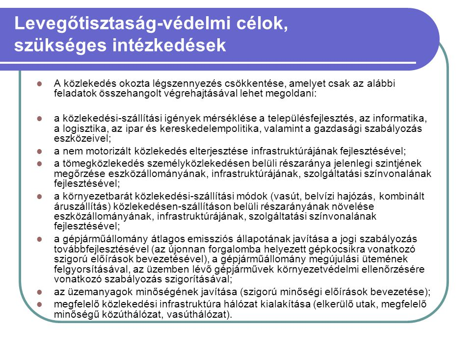 Levegőtisztaság-védelmi célok, szükséges intézkedések