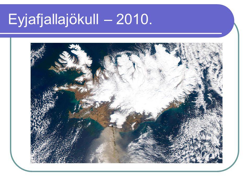 Eyjafjallajökull – 2010. Az elmúlt 1100 évben az Eyjafjallajökull négy alkalommal lépett működésbe: 920-ban, 1612-ben, 1821–23 között és 2010-ben.