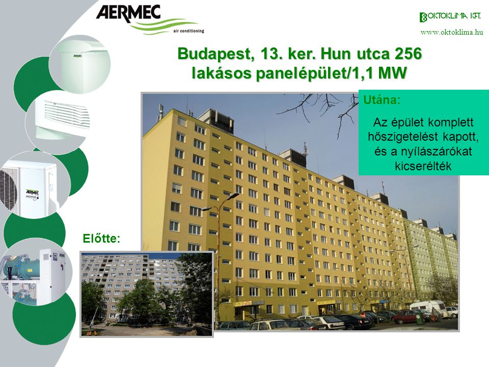 Budapest, 13. ker. Hun utca 256 lakásos panelépület/1,1 MW
