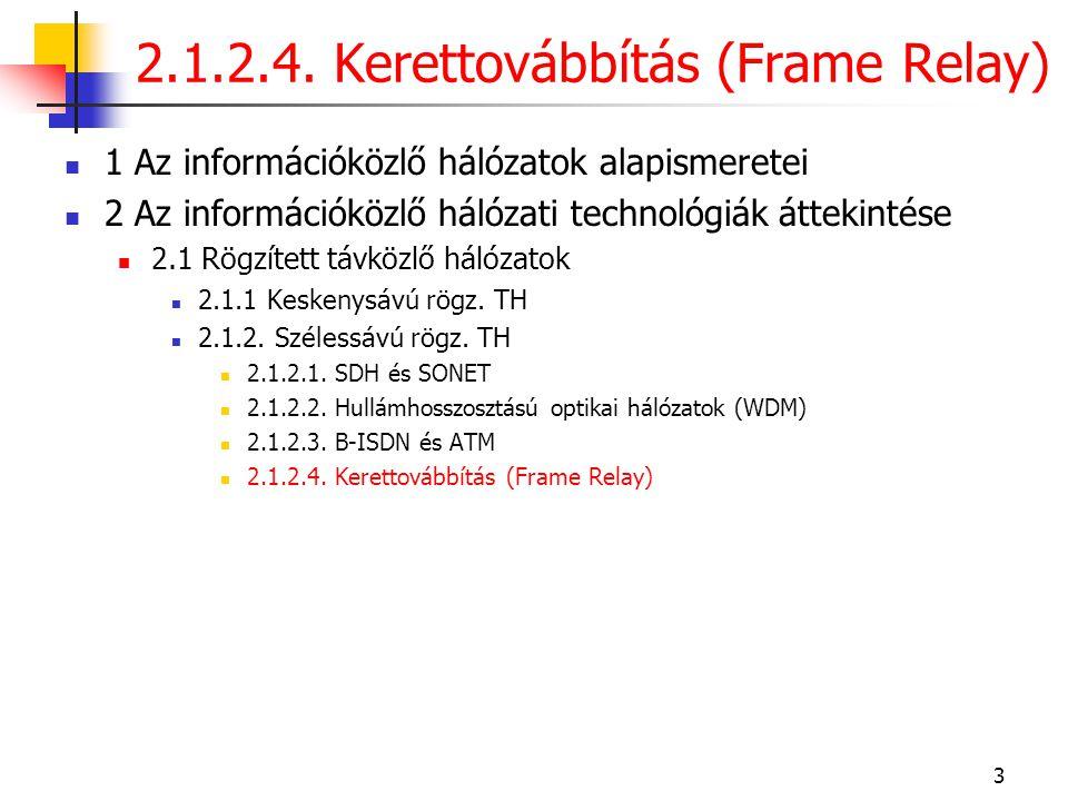 2.1.2.4. Kerettovábbítás (Frame Relay)