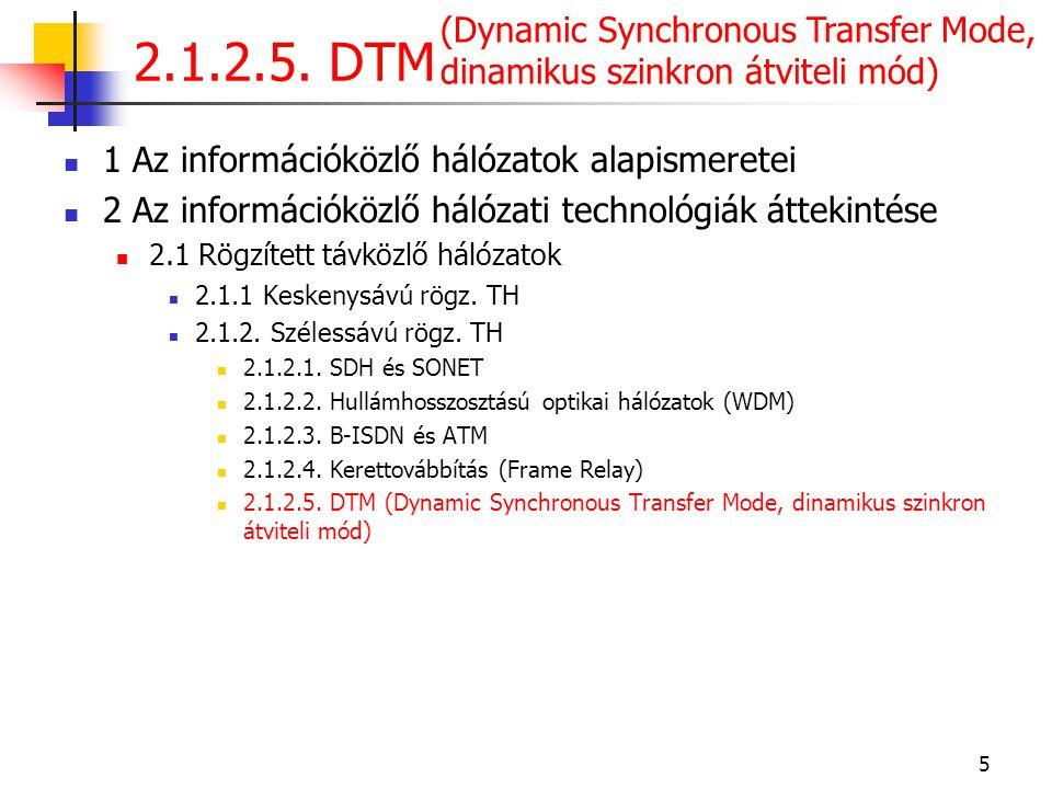 2.1.2.5. DTM (Dynamic Synchronous Transfer Mode, dinamikus szinkron átviteli mód) 1 Az információközlő hálózatok alapismeretei.