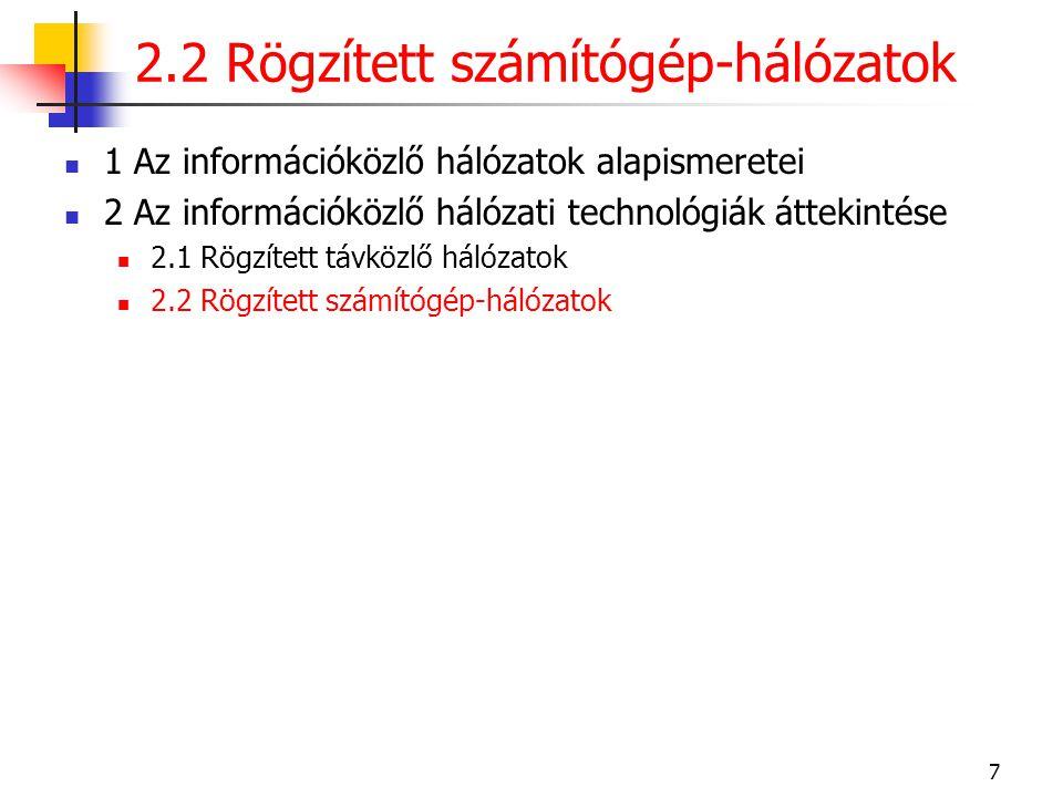 2.2 Rögzített számítógép-hálózatok