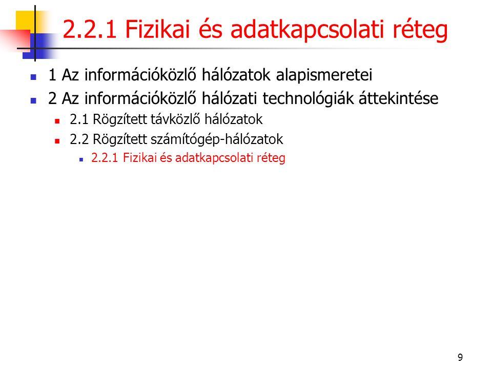2.2.1 Fizikai és adatkapcsolati réteg