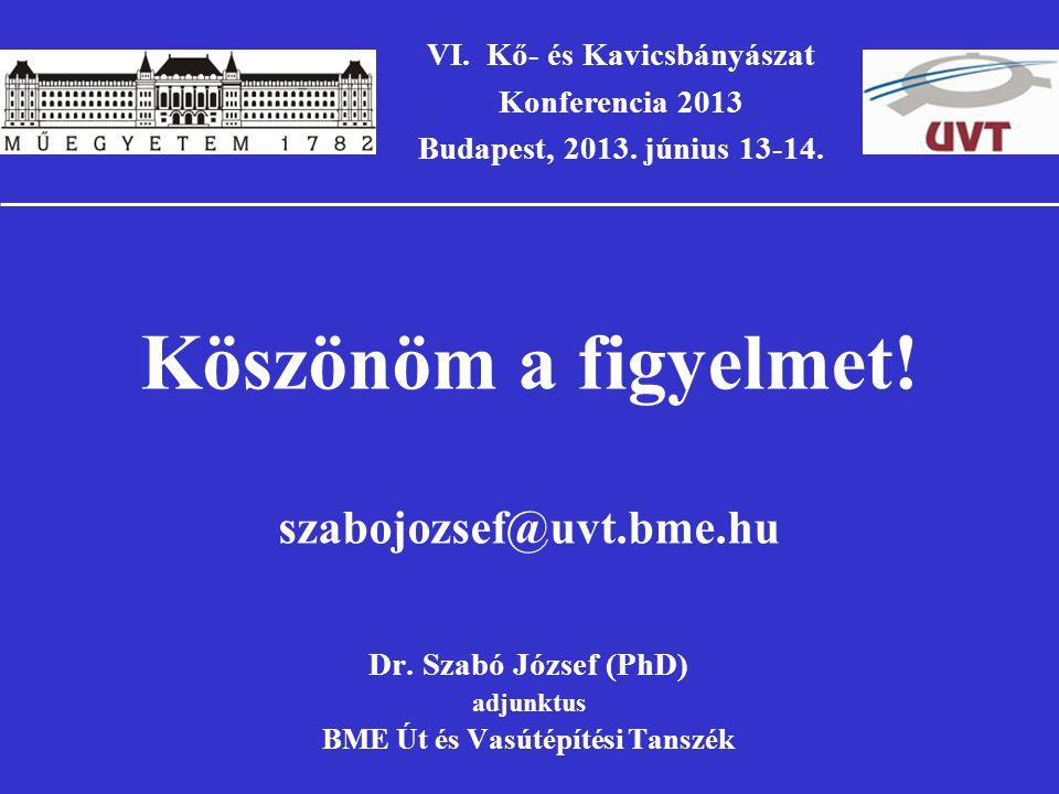 VI. Kő- és Kavicsbányászat BME Út és Vasútépítési Tanszék