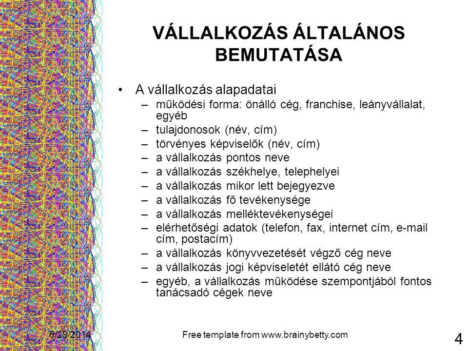 VÁLLALKOZÁS ÁLTALÁNOS BEMUTATÁSA